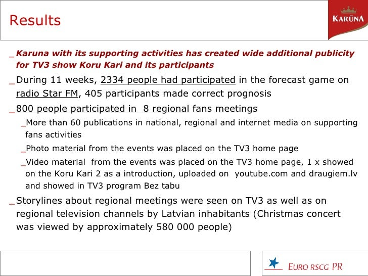 Results   <ul><li>Kar u na with its supporting activities has created wide additional publicity for TV3 show Koru Kari and...