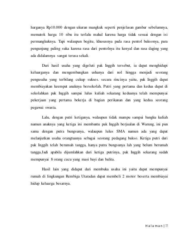Contoh Karya Ilmiah Bahasa Indonesia Mengenai Usaha Kuliner Bakso