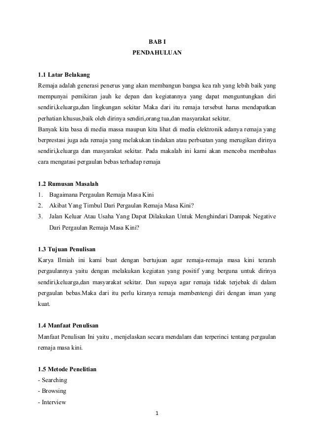 Contoh Makalah Karya Tulis Ilmiah Tentang Pergaulan Bebas