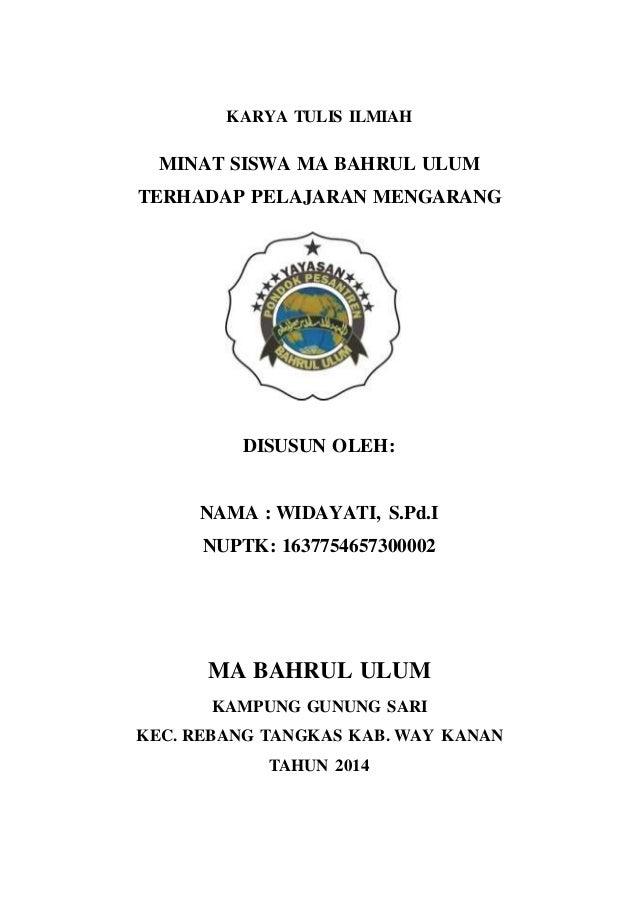 Contoh Karya Tulis Ilmiah Mata Kuliah Bahasa Indonesia