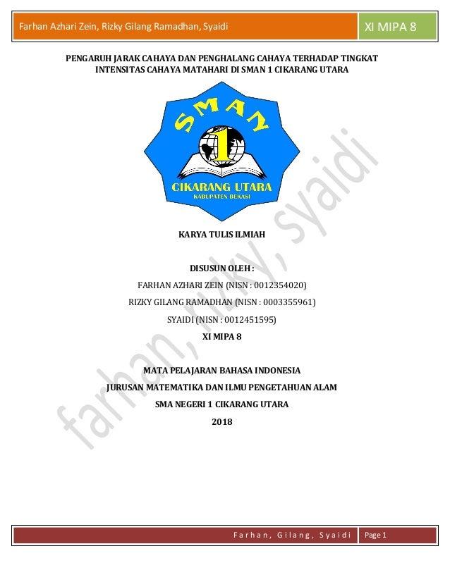 Farhan Azhari Zein, Rizky Gilang Ramadhan, Syaidi XI MIPA 8 F a r h a n , G i l a n g , S y a i d i Page 1 PENGARUH JARAK ...