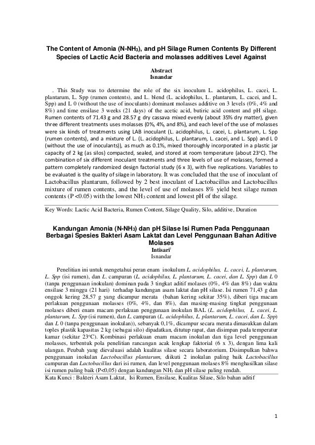 1 The Content of Amonia (N-NH3), and pH Silage Rumen Contents By Different Species of Lactic Acid Bacteria and molasses ad...