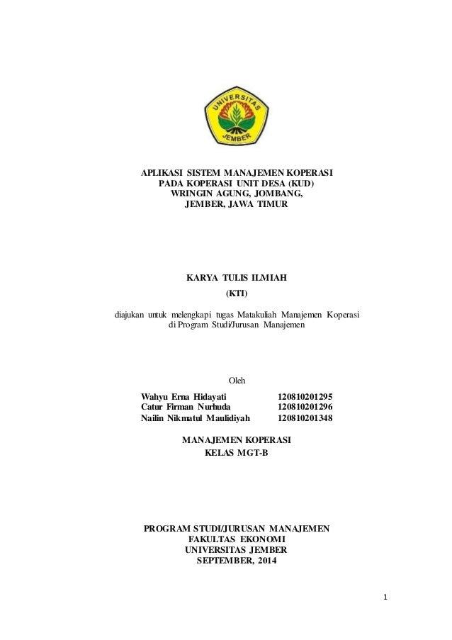 Karya Tulis Ilmiah Kti Kud Wringin Agung Kec Jombang Jember