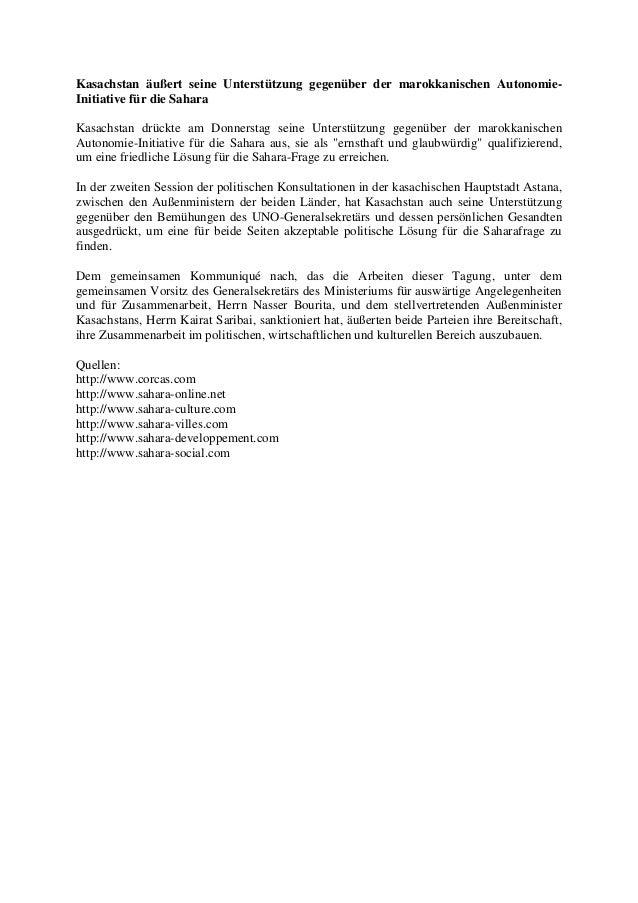 Kasachstan äußert seine Unterstützung gegenüber der marokkanischen AutonomieInitiative für die Sahara Kasachstan drückte a...