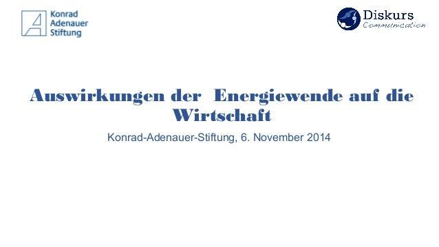 Auswirkungen der Energiewende auf die Wirtschaft Konrad-Adenauer-Stiftung, 6. November 2014