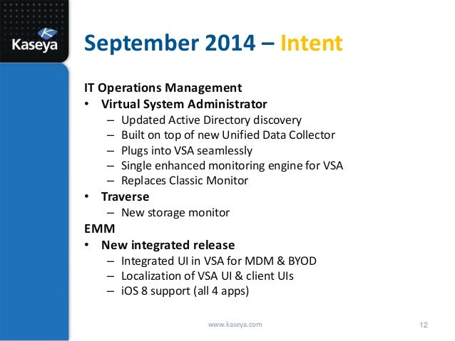 Kaseya Corporate Update And Roadmap Q1 2014