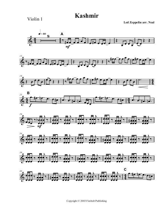 Kashmir  Violin 1  3 &4  q»•º 8  Led Zeppelin arr. eal  A  ‰ #œ œ œ œ œ œ œ #œ œ œ œ œ F  Œ  œœŒ Œ œœœœ  #œ œ œ œ œ œ œ #œ...