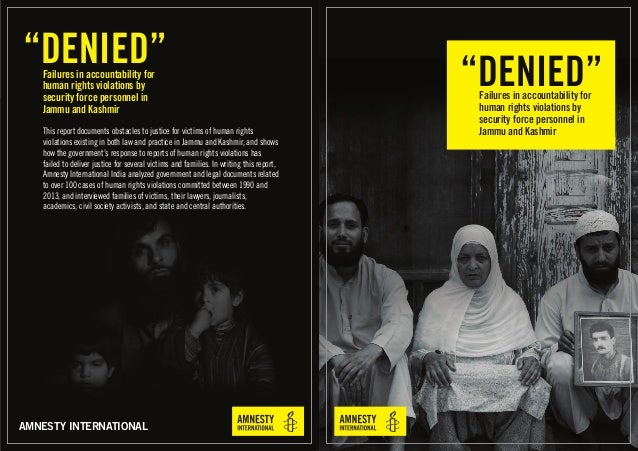 """""""DENIED""""Failures in accountability for human rights violations by security force personnel in Jammu and Kashmir AMNESTY IN..."""