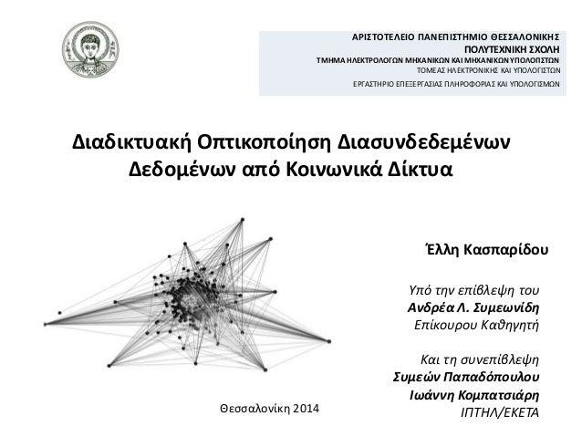 Διαδικτυακή Οπτικοποίηση Διασυνδεδεμένων Δεδομένων από Κοινωνικά Δίκτυα Θεσσαλονίκη 2014 Υπό την επίβλεψη του Ανδρέα Λ. Συ...