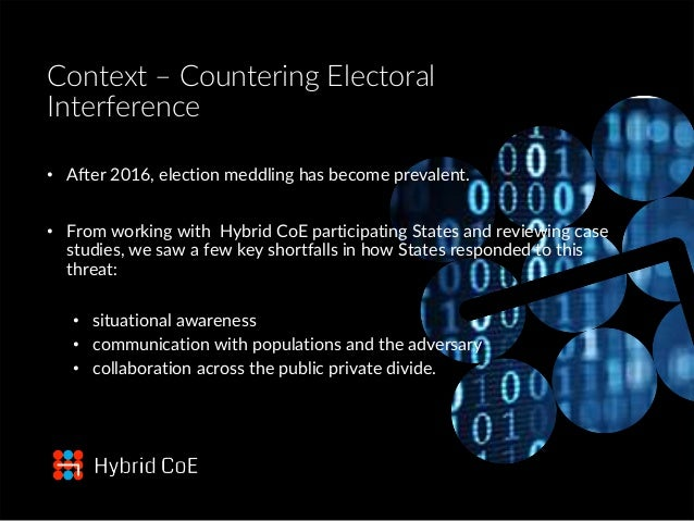 Context – Countering Electoral Interference • After 2016, election meddling has become prevalent. • From working with Hybr...