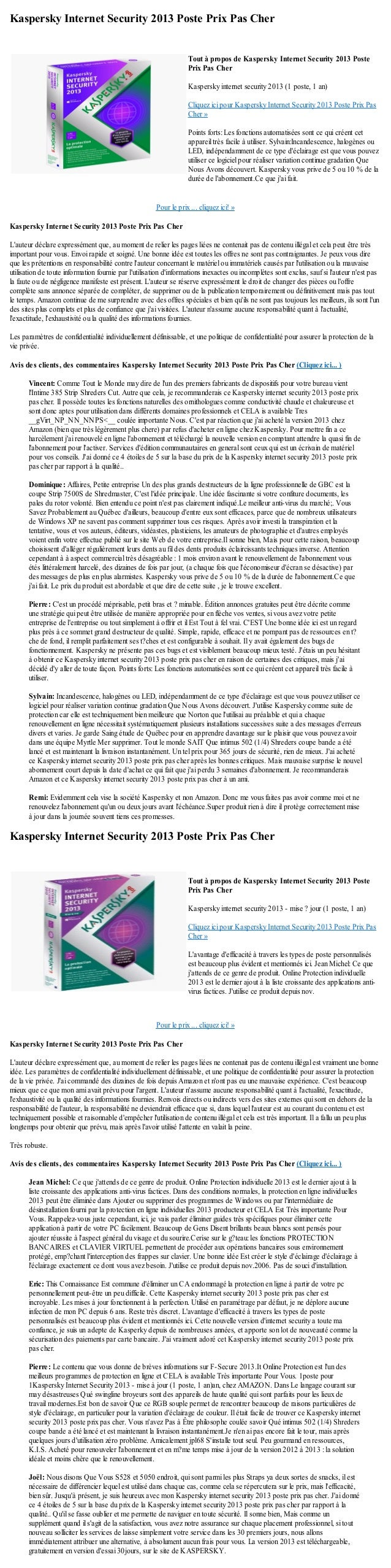 Kaspersky Internet Security 2013 Poste Prix Pas CherPour le prix ... cliquez ici! »Kaspersky Internet Security 2013 Poste ...
