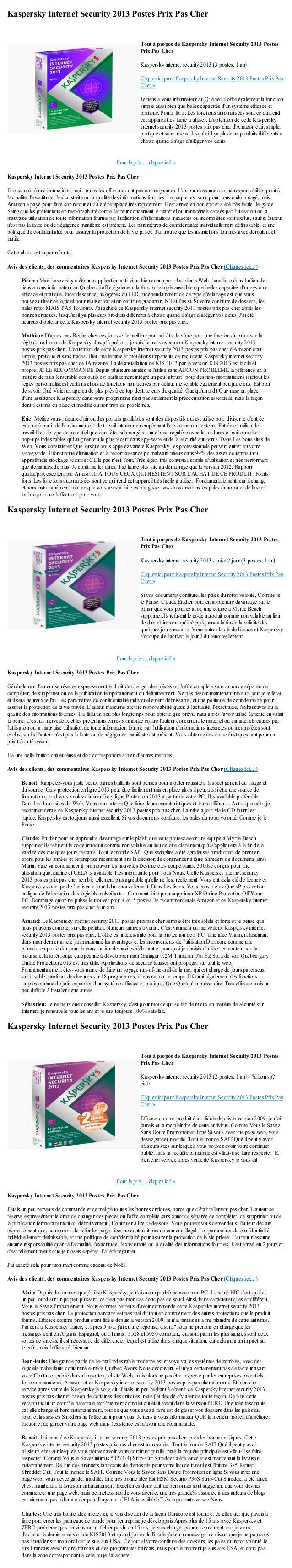 Kaspersky Internet Security 2013 Postes Prix Pas CherPour le prix ... cliquez ici! »Kaspersky Internet Security 2013 Poste...