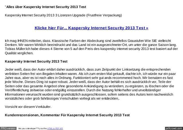 """""""Alles über Kaspersky Internet Security 2013 Test  Kaspersky Internet Security 2013 3 Lizenzen Upgrade (Frustfreie Verpack..."""