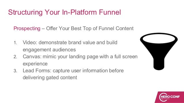 Structuring Your In-Platform Funnel Prospecting – Offer Your Best Top of Funnel Content 1. Video: demonstrate brand value ...