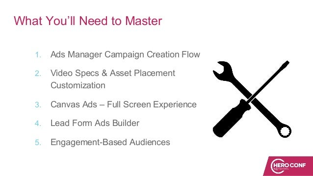 What You'll Need to Master 1. Ads Manager Campaign Creation Flow 2. Video Specs & Asset Placement Customization 3. Canvas ...