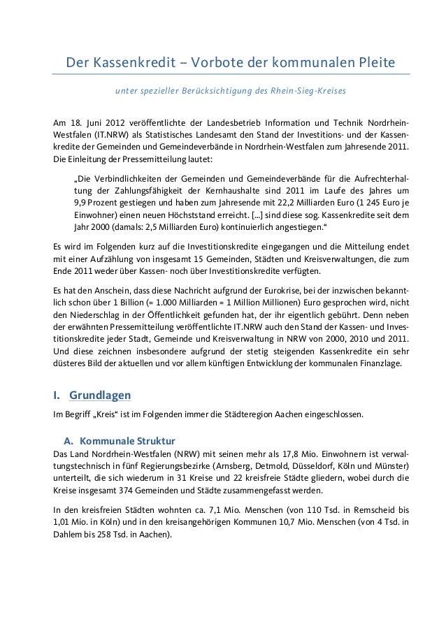 Der Kassenkredit – Vorbote der kommunalen Pleite unter spezieller Berücksichtigung des Rhein-Sieg-Kreises Am 18. Juni 2012...