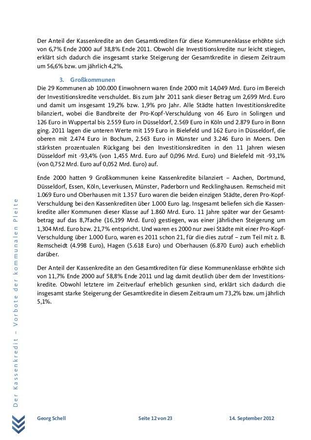 Georg Schell Seite 12 von 23 14. September 2012 DerKassenkredit–VorbotederkommunalenPleite Der Anteil der Kassenkredite an...