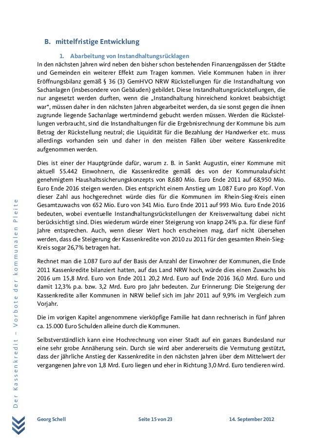 Georg Schell Seite 15 von 23 14. September 2012 DerKassenkredit–VorbotederkommunalenPleite B. mittelfristige Entwicklung 1...