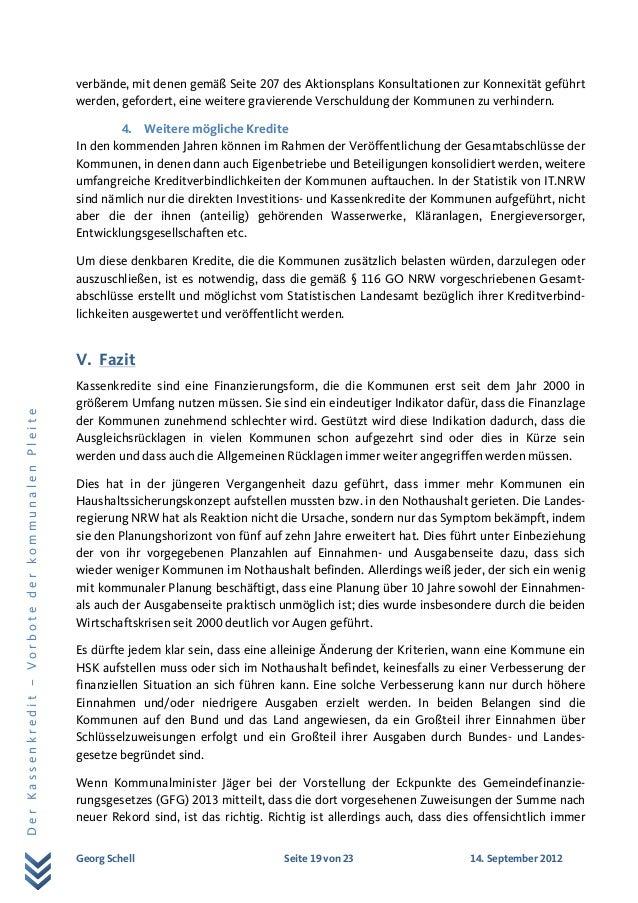 Georg Schell Seite 19 von 23 14. September 2012 DerKassenkredit–VorbotederkommunalenPleite verbände, mit denen gemäß Seite...