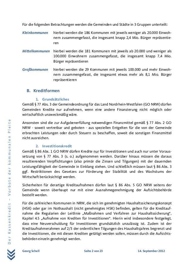 Eine Studie von Georg Schell zu Kassenkrediten Slide 2