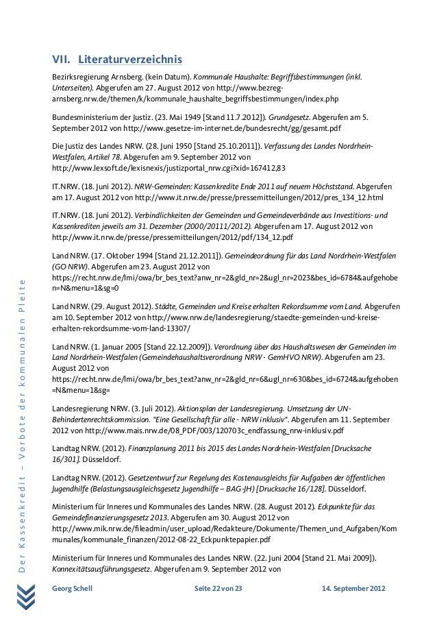 Georg Schell Seite 22 von 23 14. September 2012 DerKassenkredit–VorbotederkommunalenPleite VII. Literaturverzeichnis Bezir...
