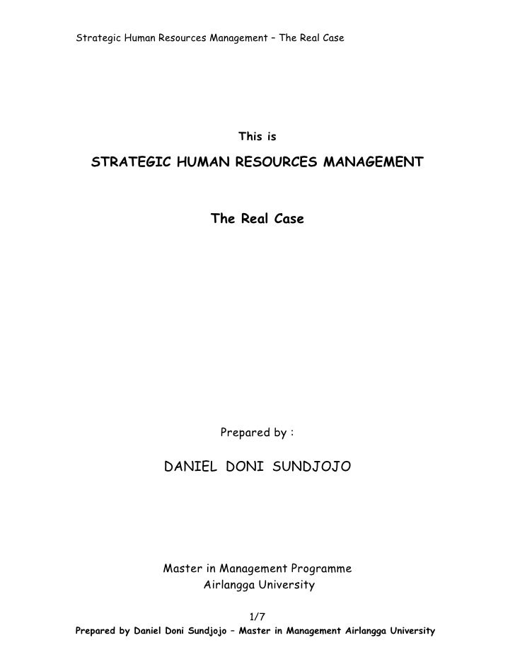 Kasus strategic human resources by daniel doni sundjojo