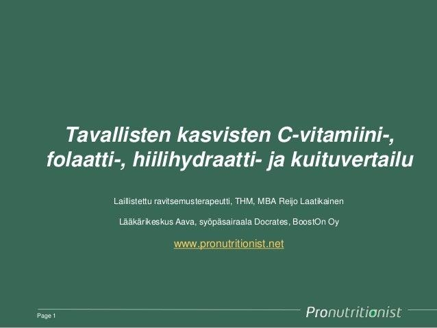 Tavallisten kasvisten C-vitamiini-, folaatti-, hiilihydraatti- ja kuituvertailu Laillistettu ravitsemusterapeutti, THM, MB...