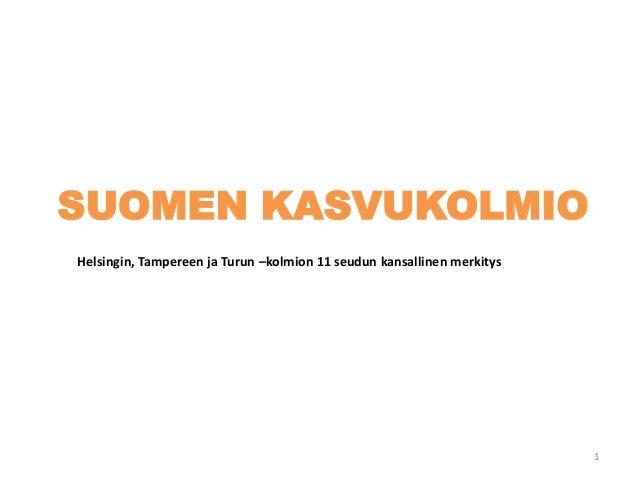 SUOMEN KASVUKOLMIO Helsingin, Tampereen ja Turun –kolmion 11 seudun kansallinen merkitys 1