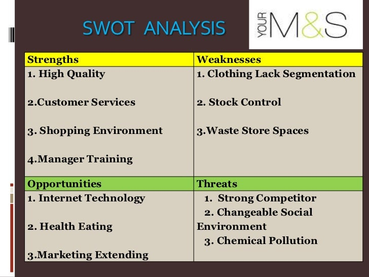Marks And Spencer - Swot Analysis Pest Analysis