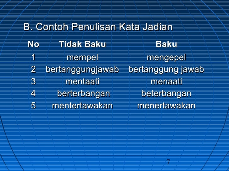 Contoh Kata Baku Dan Kata Tidak Baku Bahasa Indonesia