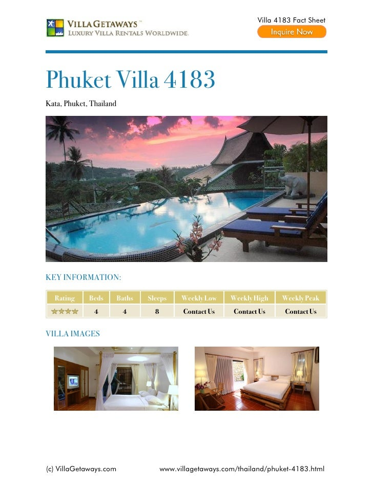 Villa 4183 Fact SheetPhuket Villa 4183Kata, Phuket, ThailandKEY INFORMATION:  Rating     Beds        Baths   Sleeps      W...