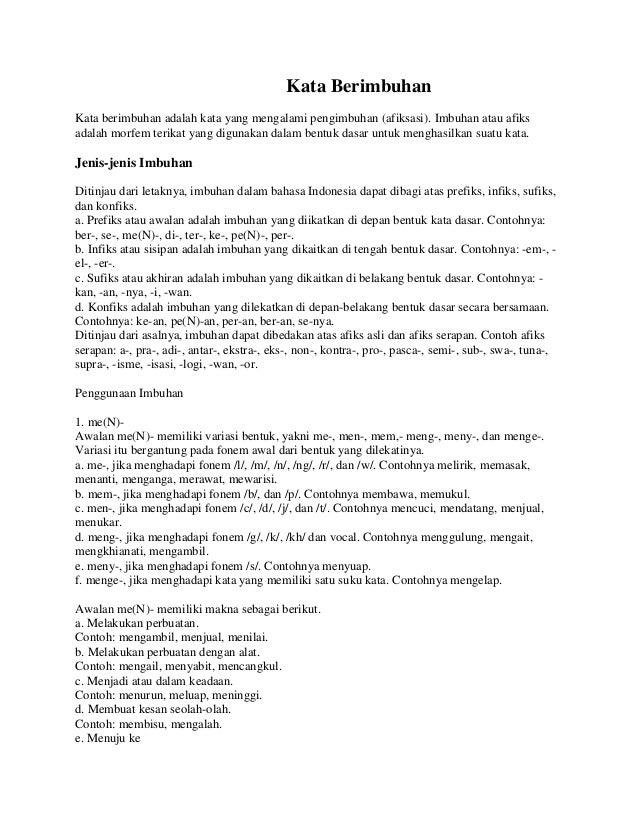 Kata Berimbuhan Materi Kls 7 Smes 1