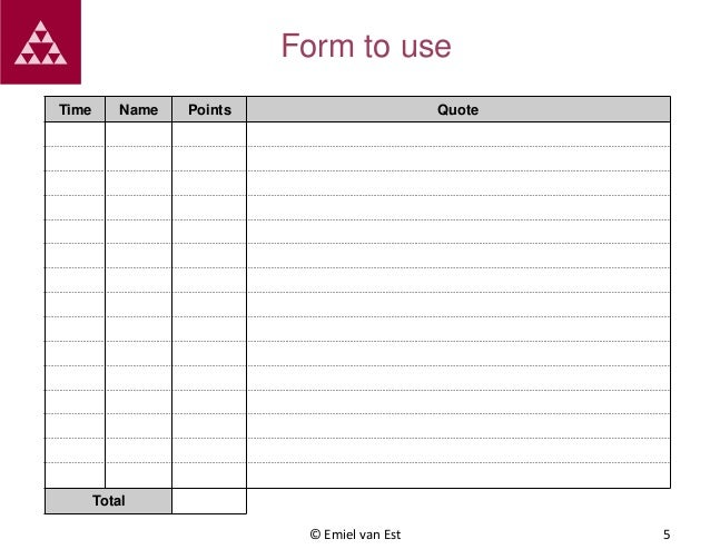Form to use Time  Name  Points  Quote  Total © Emiel van Est  5
