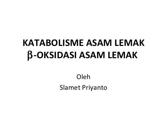 KATABOLISME ASAM LEMAK β-OKSIDASI ASAM LEMAK           Oleh      Slamet Priyanto