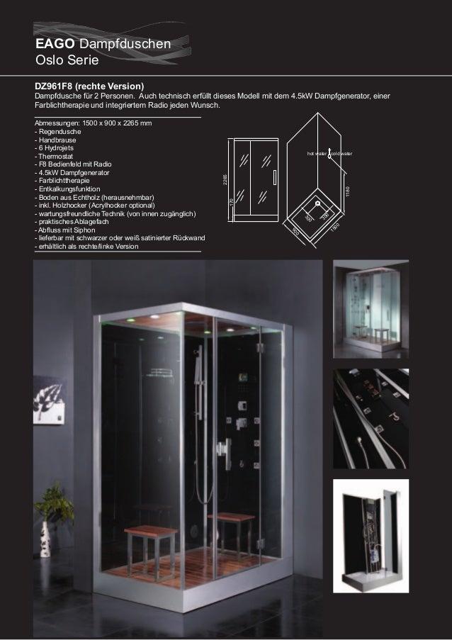 DZ959F8 / DZ960F8 (linke Version)  Durch die schwarze Glasrückwand bildet diese Dampfdusche einen Kontrast in jedem Badezi...