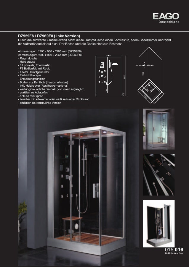 EAGO Dampfduschen Oslo Serie DZ962F8  Ein Traum für 2 Personen, der sich durch kompakte Maße in vielen Badezimmern realisi...