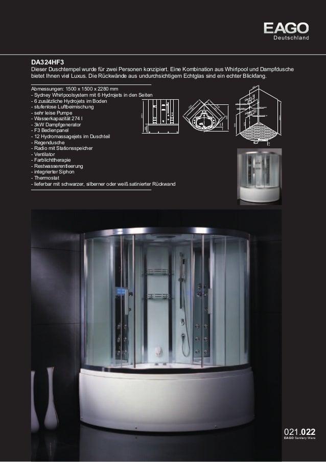 EAGO Dampfduschen Sydney Serie DA324-1HF3  Dieses exklusive Modell bietet eine Kombination aus Whirlpool und Dampfdusche. ...