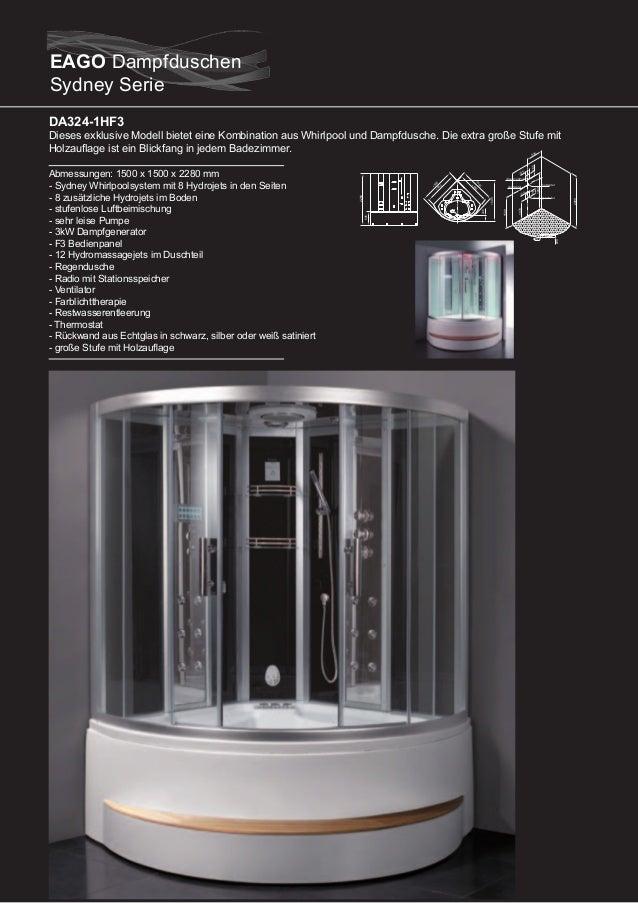 DA325F3  DA327F3  Abmessungen: 1350 x 1350 x 2220 mm - Sydney Whirlpoolsystem mit 6 Hydrojets in den Seiten - 6 zusätzlich...