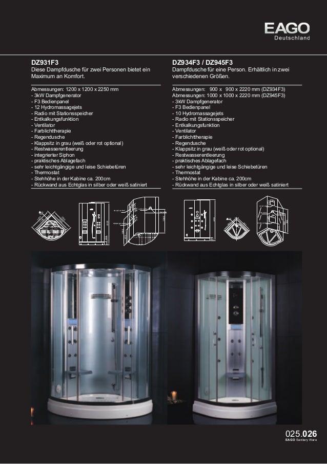 EAGO Dampfduschen Oslo Serie DZ949F8 / DZ951F8  DZ955F8 /DZ954F8 (rechte Version)  Abmessungen: 1000 x 1000 x 2300 mm (DZ9...