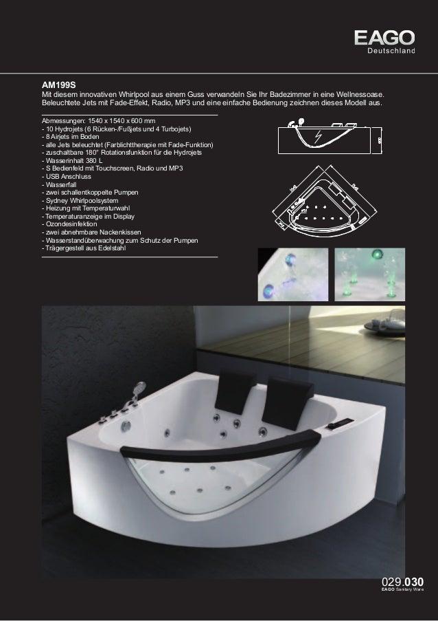 EAGO Whirlpools Sydney Serie AM198S (rechte Version)  Dieser innovative Whirlpool aus einem Guss ist speziell für kleine b...