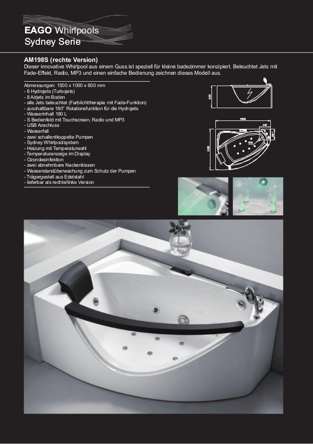 AM197S  Dieser Eckwhirlpool ist für 2 Personen konzipiert. Beleuchtet Jets mit Fade-Effekt, Radio, MP3 und einen einfache ...