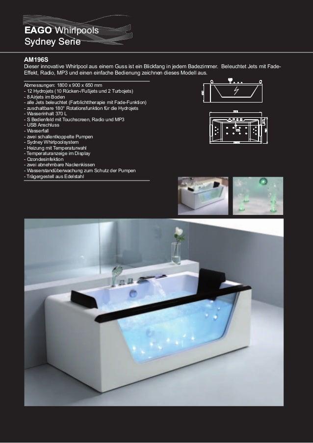 AM210S  Dieser innovative Whirlpool mit einem umlaufenden Wasserfall ist ein Blickfang in jedem Badezimmer. Beleuchtet Jet...