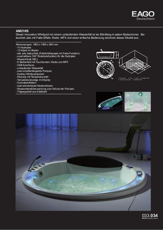 EAGO Whirlpools Sydney Serie AM156JDTSZ  Dieser Whirlpool ist die Vollendung aus Glas und Acryl. Der Wasserfall und das ve...
