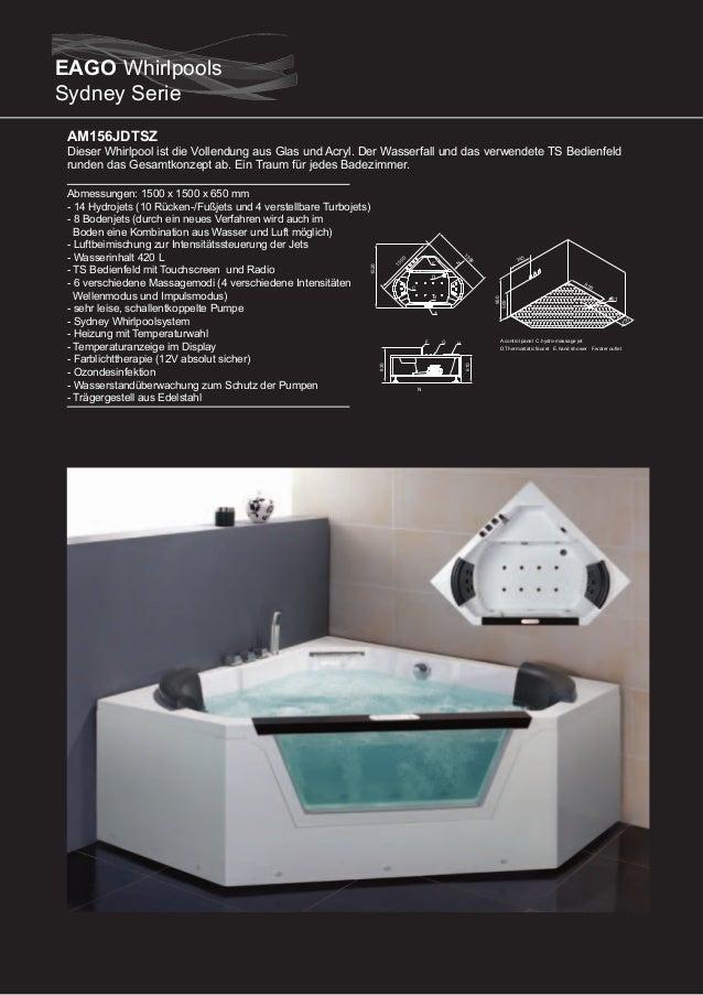 AM151-1JDTSZ (rechte Version)  Dieser Whirlpool ist die Vollendung aus Glas, Aluminium und Acryl. Die Glasscheibe läßt sic...