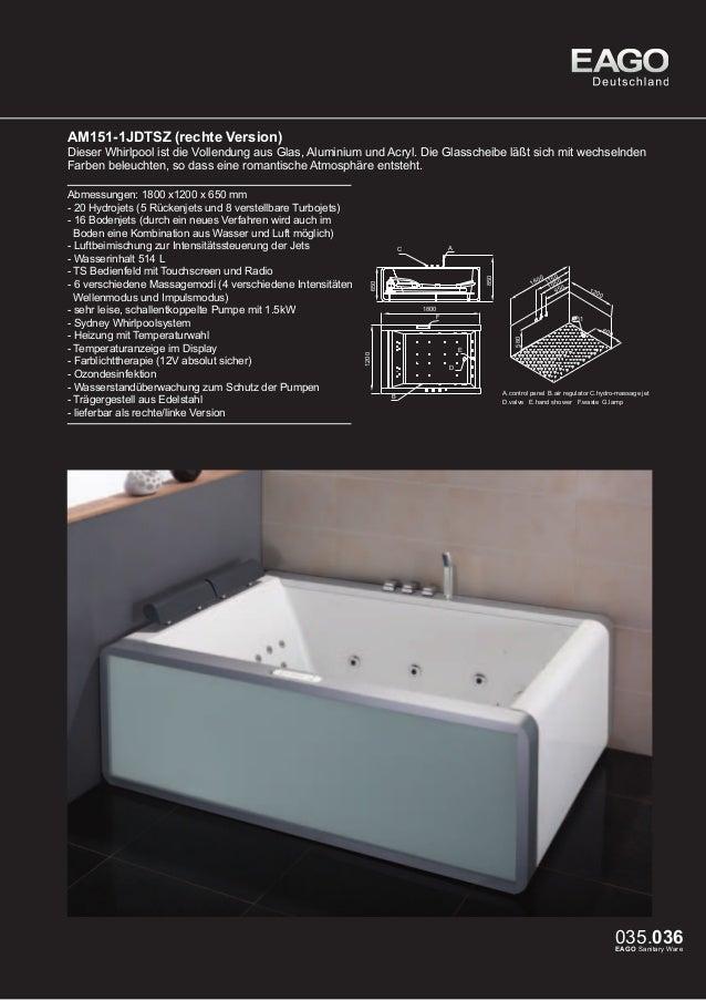 EAGO Whirlpools Sydney Serie AM151JDTSZ (linke Version)  Dieser Whirlpool ist die Vollendung aus Glas, Aluminium und Acryl...