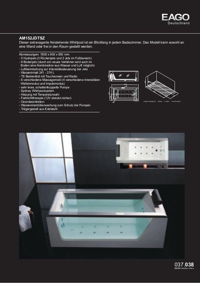 EAGO Whirlpools Sydney Serie AM193ET  Dieses Modell vereint Design und Technik zu einem traumhaften Badambiente. Geniessen...