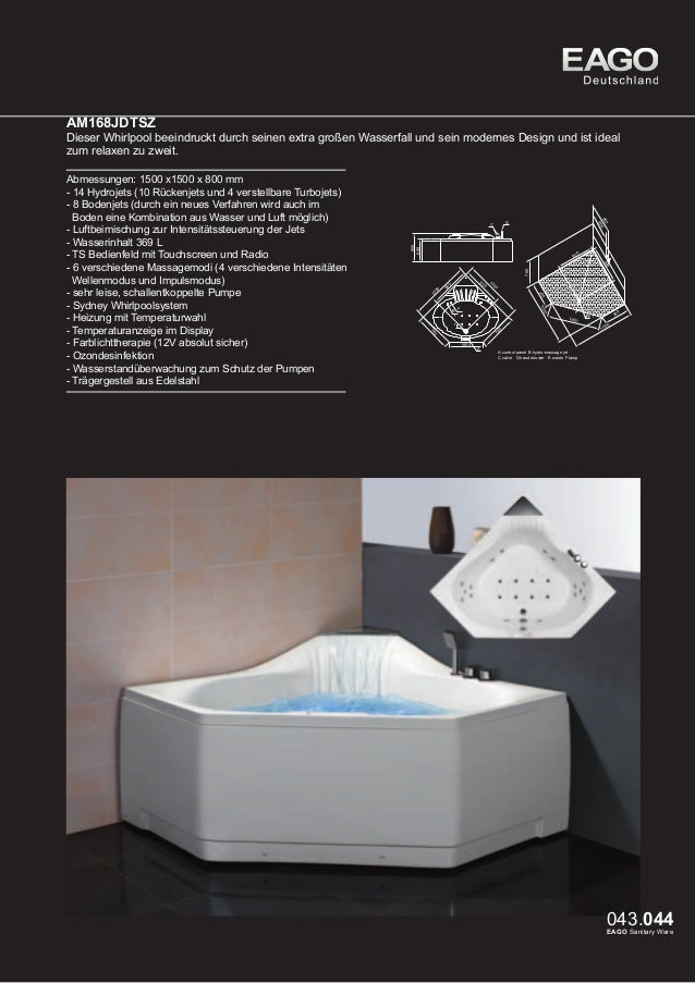 EAGO Whirlpools Sydney Serie AM185JDTSZ  Dieser Whirlpool für zwei Personen kann sowohl eingelassen oder mit der optional ...