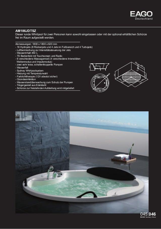 EAGO Whirlpools Sydney Serie AM113JDTSZ (rechte Version)  Sehr komfortabler 2 Personen Whirlpool. Durch sein inneres Boden...