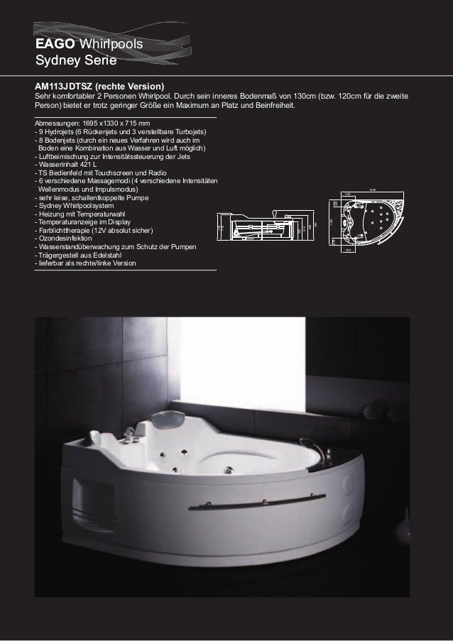 AM133JDTSZ  Dieser Whirlpool zeichnet sich durch sein XXL-Format aus. Mit 2.40m von Ecke zu Ecke bietet er sehr viel Platz...