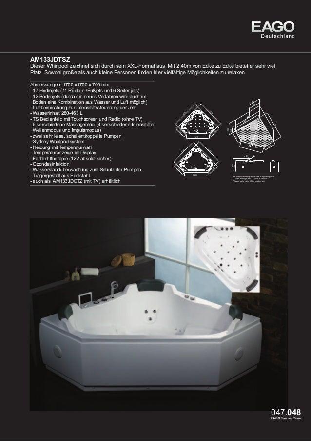 EAGO Whirlpools Sydney Serie AM505JDTSZ  Ein riesiger Wasserfall zeichnet dieses Modell aus. Entspannen Sie wie im Urlaub ...